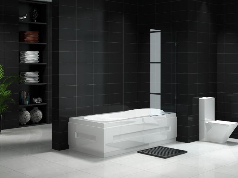 Fully Frameless Fixed Over bath Shower Panel 900mm