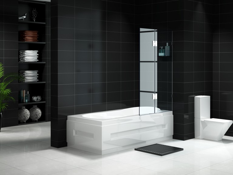 Fully Frameless Over bath Shower Door 900mm