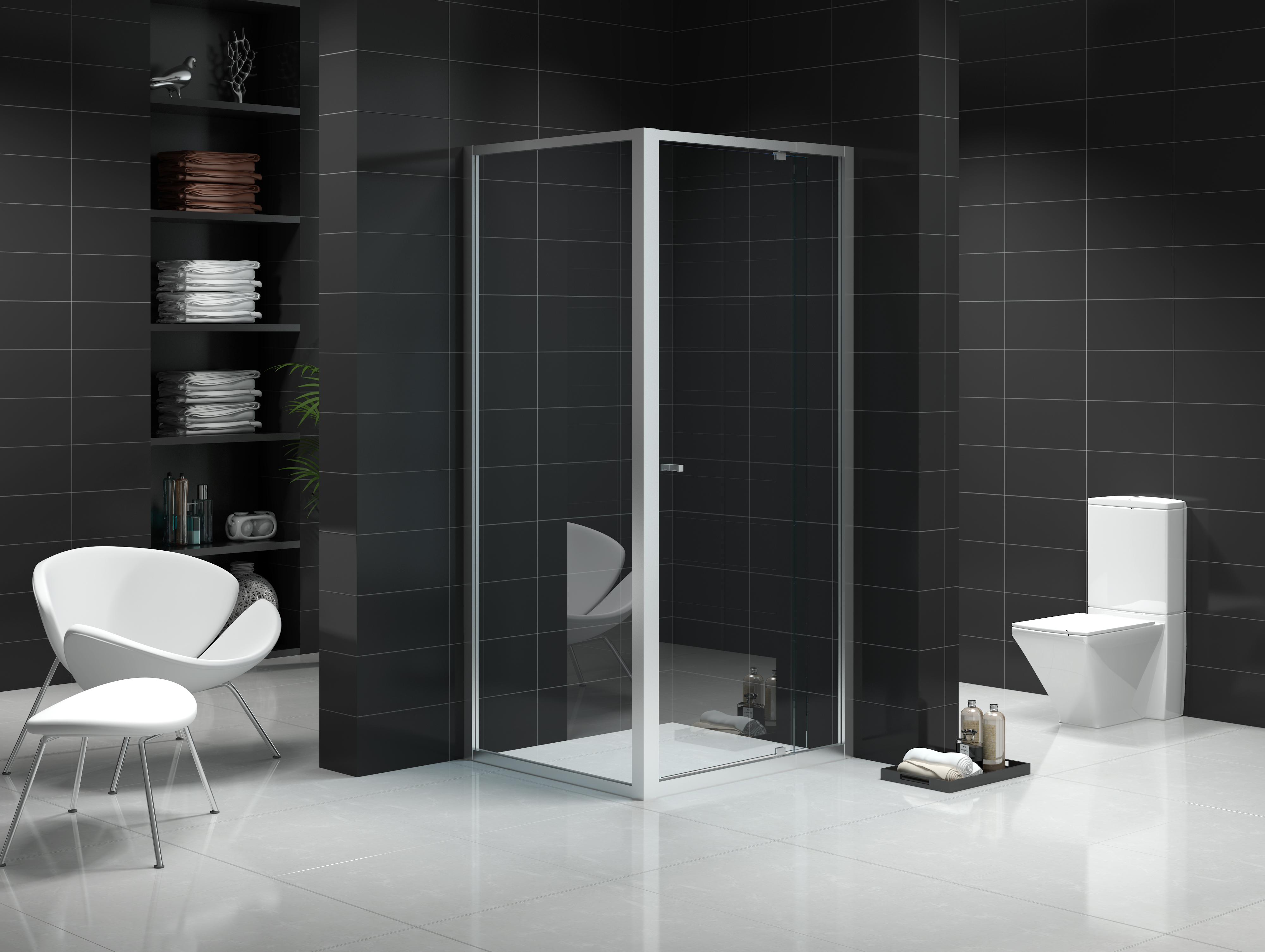 Custom Size Semi Frameless Shower Screen 1051 1130mm Side