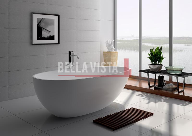 Solid Surface Bath Egg Shape Matt 1500mm Bella Vista