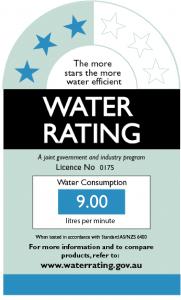 Shower wels water rating australia