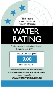 Shower wels water rating australia