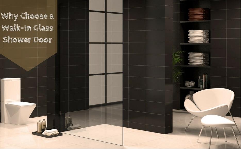Walk in glass shower door
