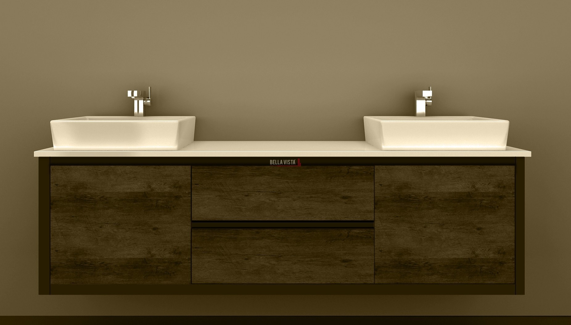 Clarissa wall hung vanity 1800mm american oak stone top for Bathroom cabinets 1800mm
