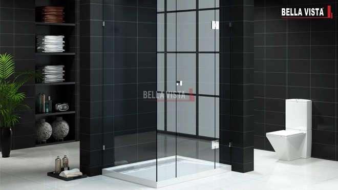 Contemporary black bathroom with frameless shower screens