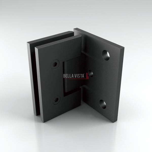 FH90 BLK_Web Bella Vista Hinge 90 degree Wall to Glass Black