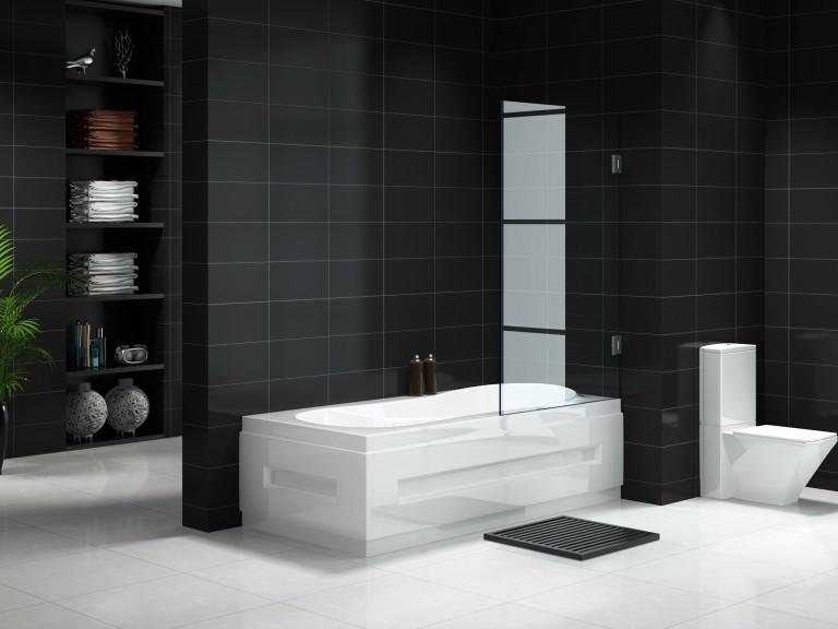 Fully Frameless Fixed Over bath Shower Panel 700mm