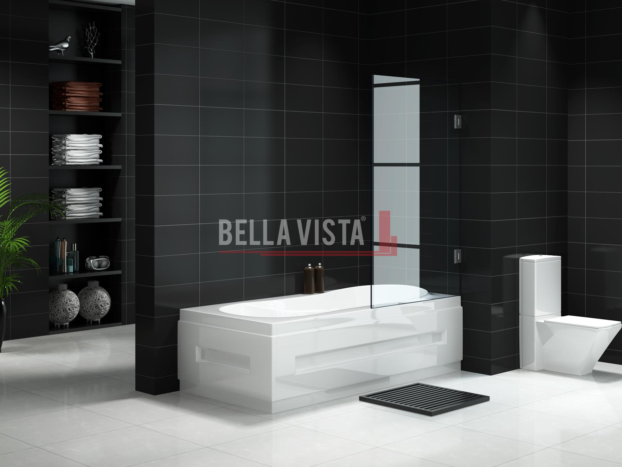 Fully Frameless - Over Bath - Shower Door available in 750 and 900mm