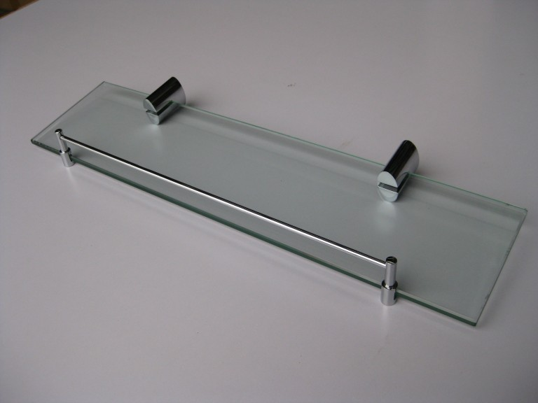 Oval Glass Shelf with Chrome Rail