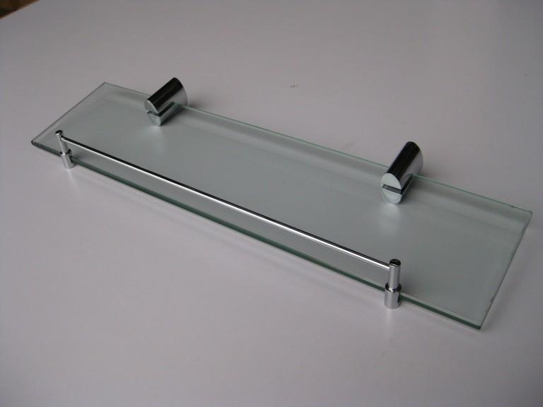 Oval Glass Shelf with Chrome Rail