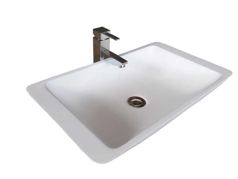 Solid Surface Basin Curved Square Shape Gloss