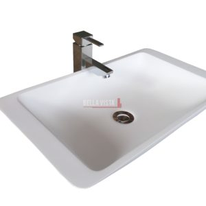 Solid Surface Basin Curved Square Shape Matt