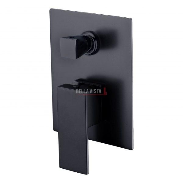 bella vista Shower Bath Mixer with Diverter Deko Square Black