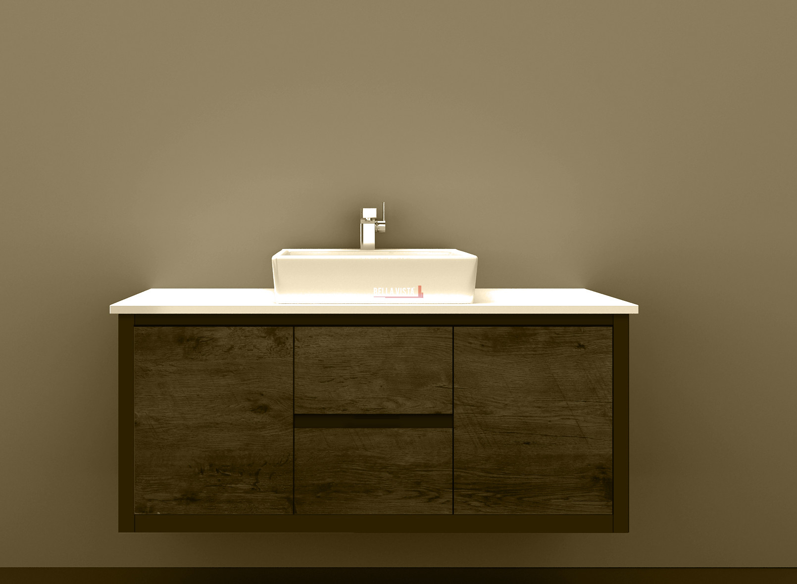 Clarissa Wall Hung Vanity 1200mm American Oak Stone Top