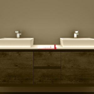 Clarissa Wall Hung Vanity 1500mm American Oak Stone Top Double Basin