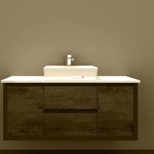 1500ST Clarissa Wall Hung Vanity 1500mm American Oak Stone Top Single Basin