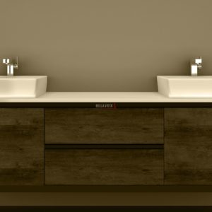 BV-8180DT Clarissa Wall Hung Vanity 1800mm American Oak Stone Top Double Basin