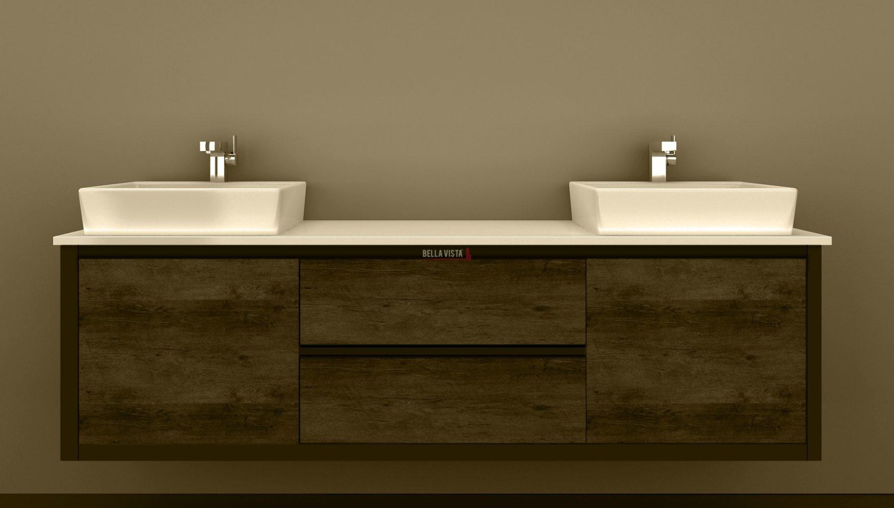 Clarissa Wall Hung Vanity 1800mm American Oak Stone Top Double Basin