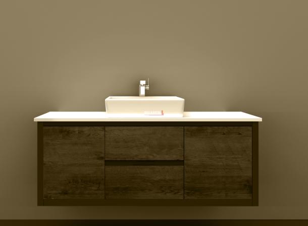 BV-8180ST Clarissa Wall Hung Vanity 1800mm American Oak Stone Top Single Basin