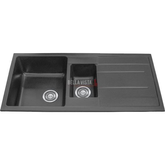 S100-50D-B One and 1/4 Bowl Black Kitchen Sink with Drainer 1000 x 500mm