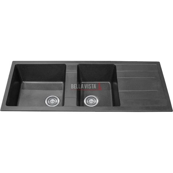 1 and 3/4 Bowl Black Kitchen Sink with Drainer 1160 x 500mm