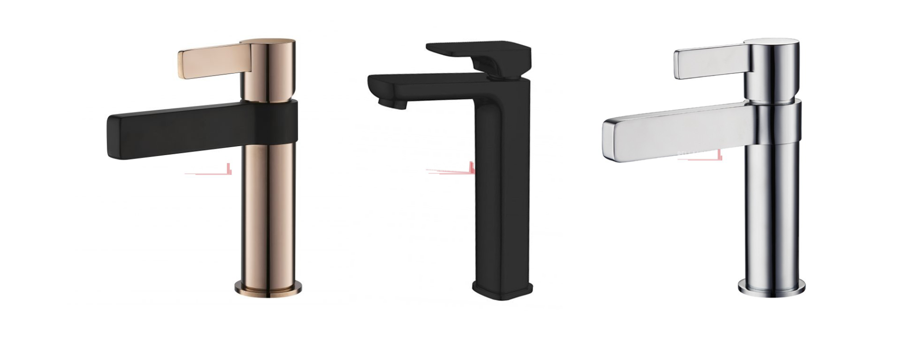 Trendy tapware in rose gold, black, and chrome finish