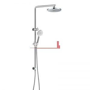 bella vista Dual Shower Rail with Rain Fall Head Single Hose Round