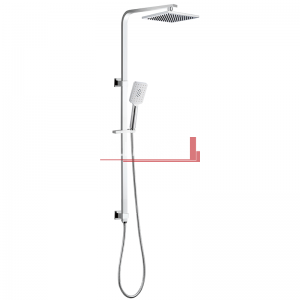 bella vista Dual Shower Rail with Rain Fall Head Single Hose Square