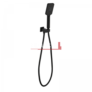 bella vista Handheld Square Shower Head with Wall Bracket black