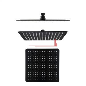 bella vista Shower Head Rainfall Stainless square 250mm / 300mm Black