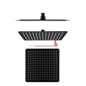 bella vista Shower Head Rainfall Stainless square 250mm / 300mm Black