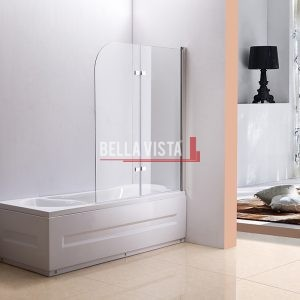 Bella Vista Fully Frameless Over Bath Every Day Fixed and Swing Bath Screen 1000mm