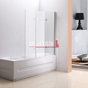Bella Vista Fully Frameless Over Bath Every Day Bifold Triple Swinging Bath Screen 1300mm