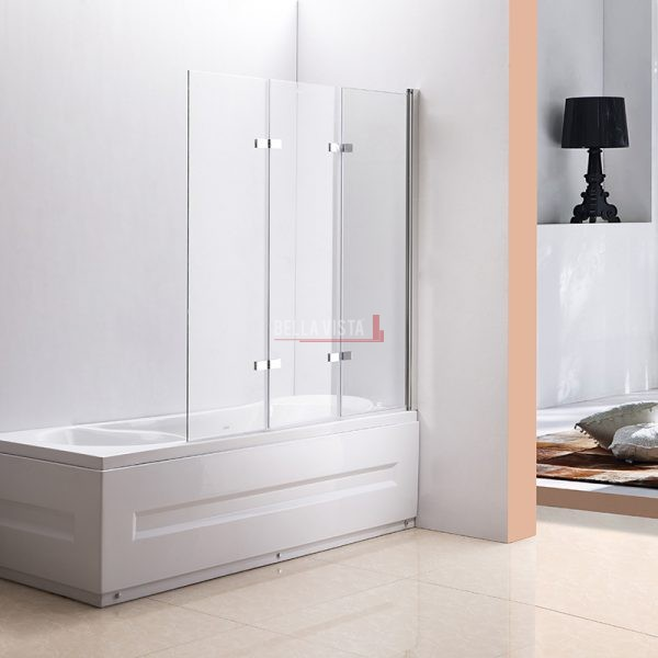 Fully Frameless - Over Bath - Every Day Bifold Triple Swinging Bath Screen - 1300mm